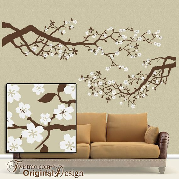 Large Vinyl Wall Decal Set Cherry Blossoms Tree Branches With - Custom vinyl wall decals cherry blossom tree