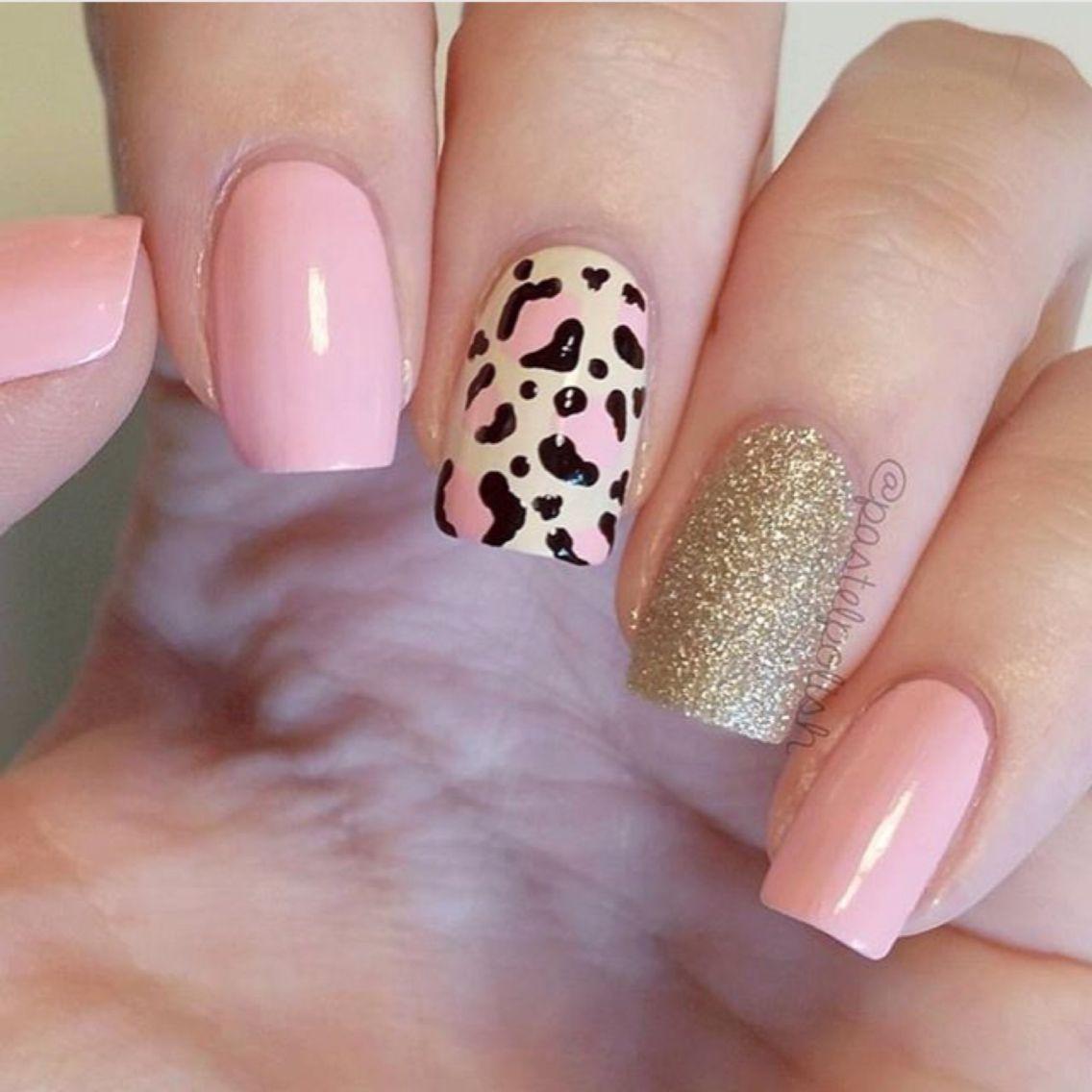 Pinkgoldleopard Garritas Pinterest Diseños De Uñas