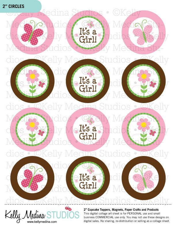Butterfly Baby Shower 2 inch Circle Digital by ...