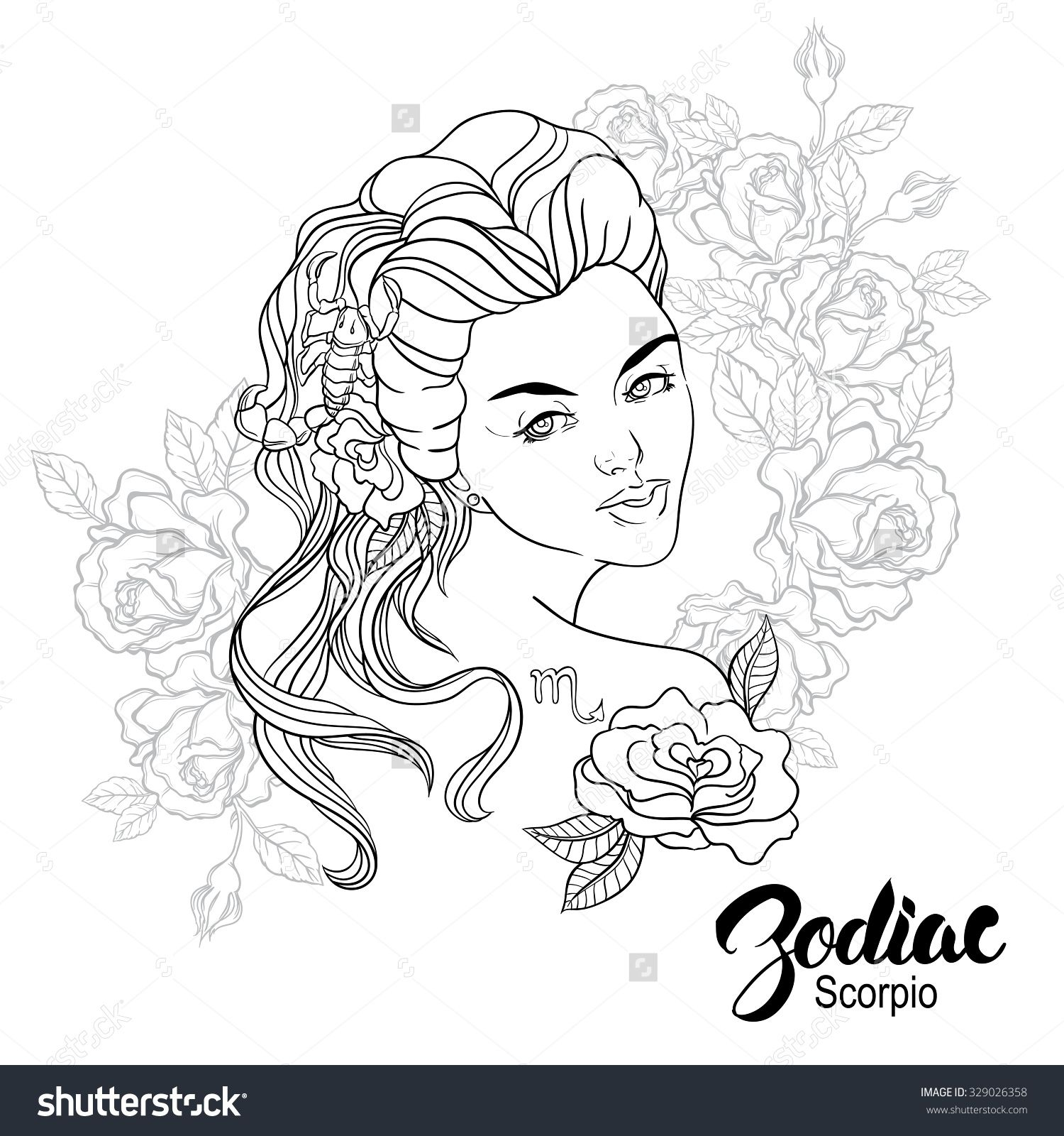 Zodiac Illustration Of Scorpio As Girl With Flowers Design For Coloring Book Page Coloring Books Coloring Book Pages Zodiac Signs Colors