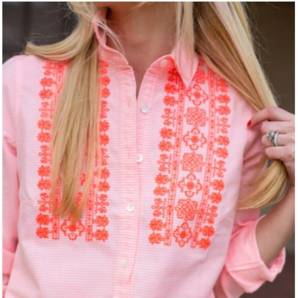 J crew retail coral striped embroidered shirt- 00 Brand new with tags J. Crew Tops