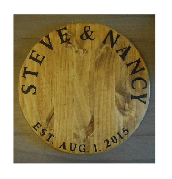 Wine Barrel Lid Faux Personalized With Name And Date Guest Book Decoration Centerpiece Centerpieces Barrel Wall Decor