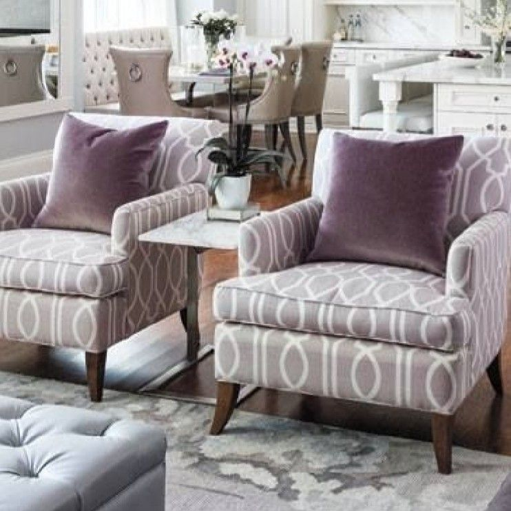 Two Transitional Accent Chairs With Simple Table Between