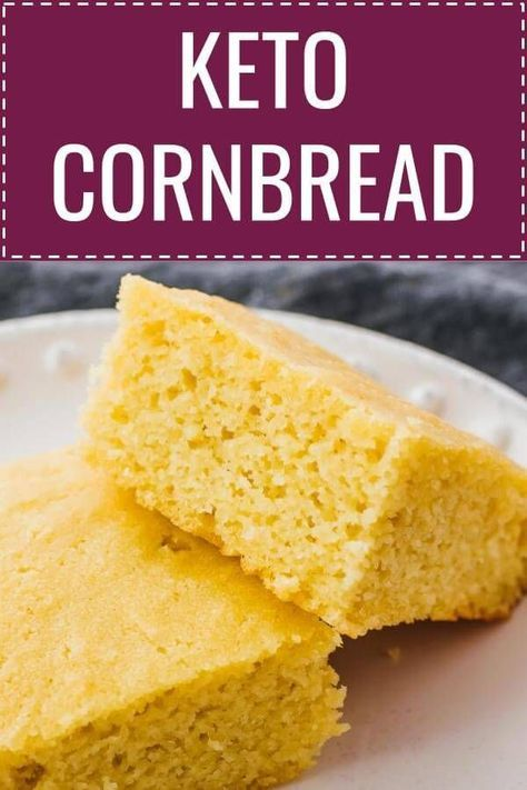 This easy homemade cornbread recipe is gluten free, low carb, and keto friendly! It's a healthy version with no sugar and mainly composed of almond flour (or almond meal) and eggs. Its texture is fluffy and moist, and its taste is slightly sweet. You can serve with slices of butter or drizzle with sugar free maple syrup. Click the pin to find the recipe, nutrition facts, cooking tips, & more photos. #healthy #healthyrecipes #lowcarb #keto #ketorecipes #glutenfree #eggnutritionfacts