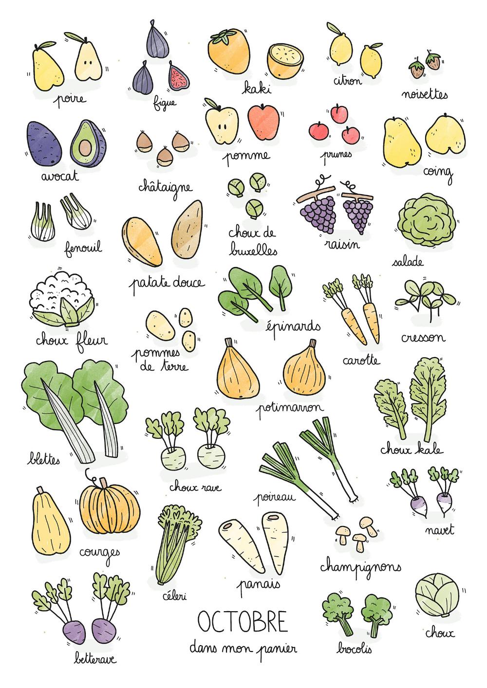 Fruits & légumes de saison Octobre La Cormerie