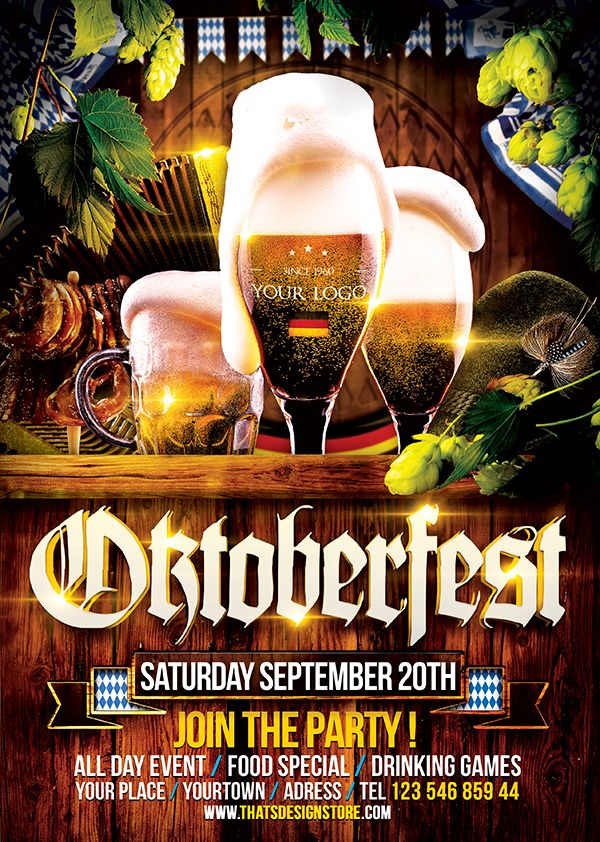 Beer Party Oktoberfest Flyer Template 4