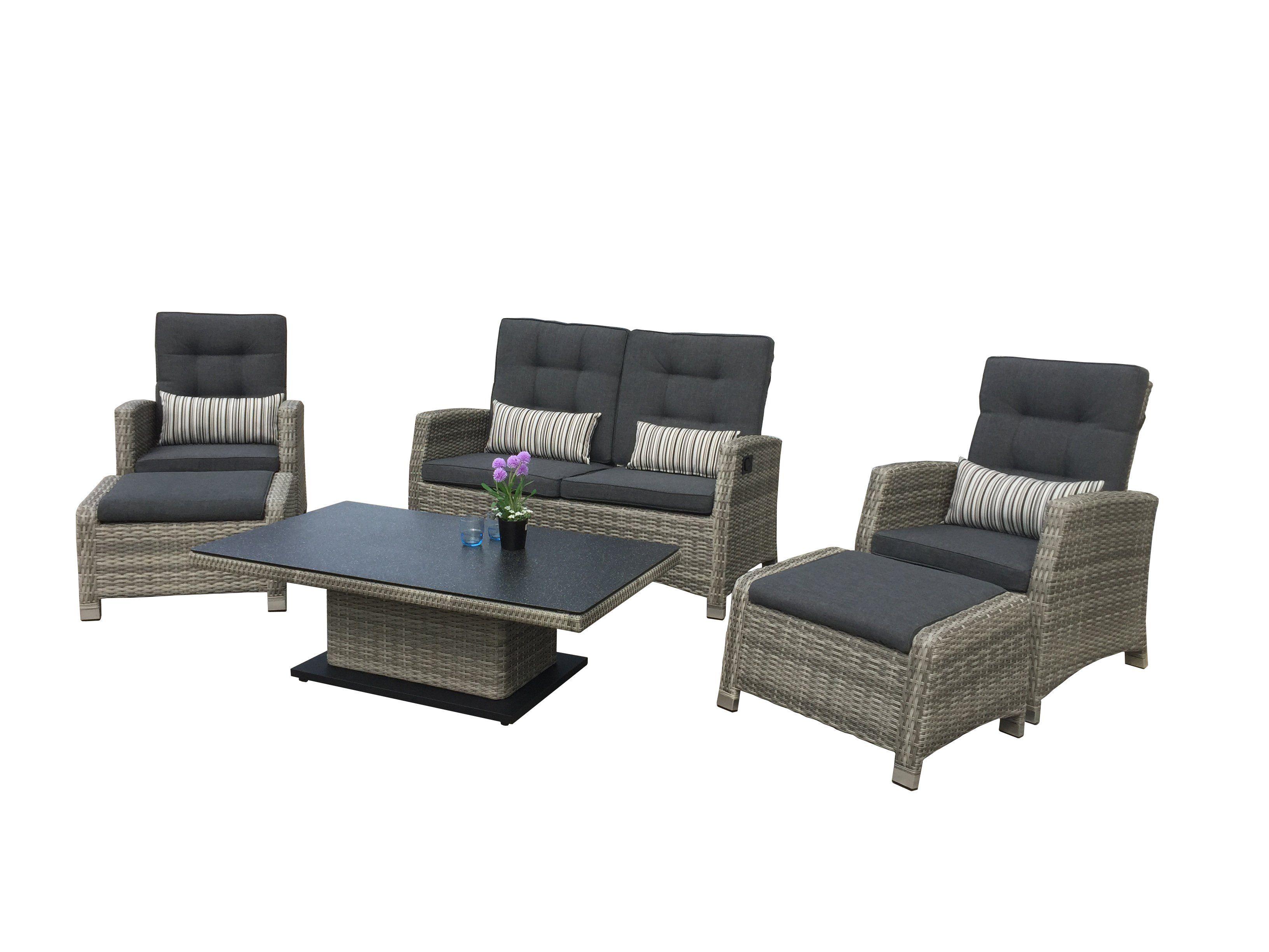 Alu Lounge Larissa Der Firma Siena Garden Aus Polyrattan Mit Einer 2er Bank 2 Sesseln 2 Hockern Und Einem Lounge Gartenmobel Polyrattan Lounges Lounge Mobel
