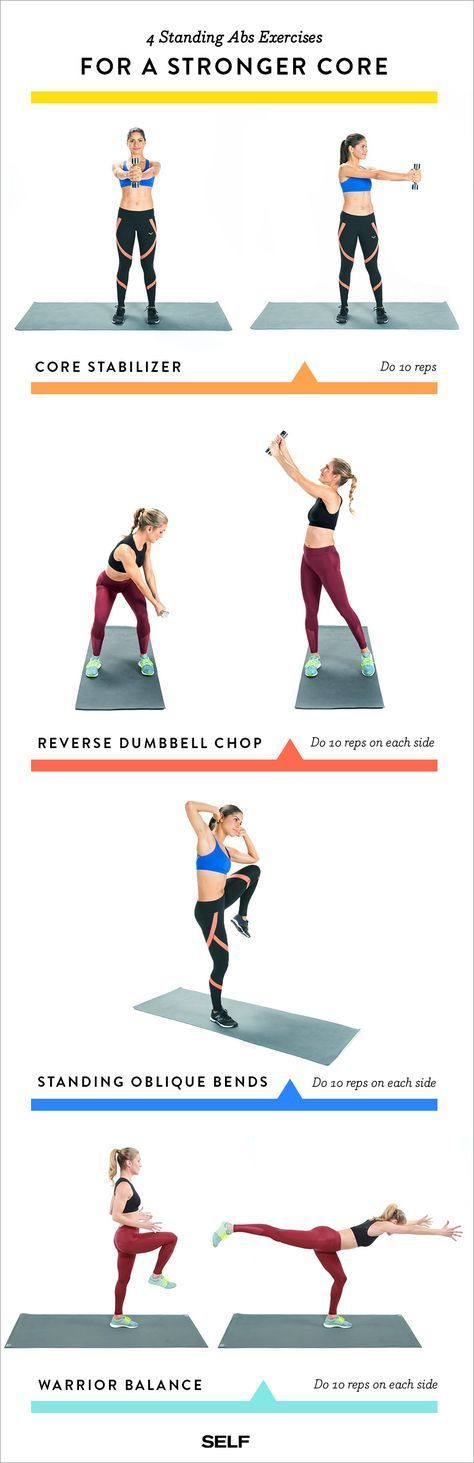 4 Standing Core Exercises That Will Sculpt Your Abs From Every Angle Standing Core Exercises Abs Workout Exercise