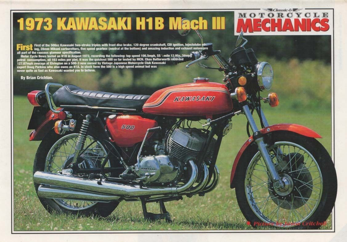 The (1973) KAWASAKI 500 H1B MACH III MOTORCYCLE (Advertit ...