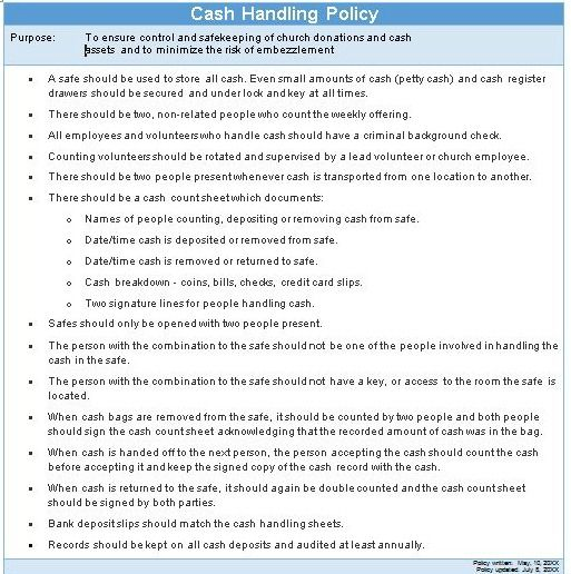 Does Your Church Have A Policy For How It Handles Cash? Churches - policy and procedure template
