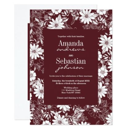 Modern white marsala red stylish floral Wedding Invitation Floral