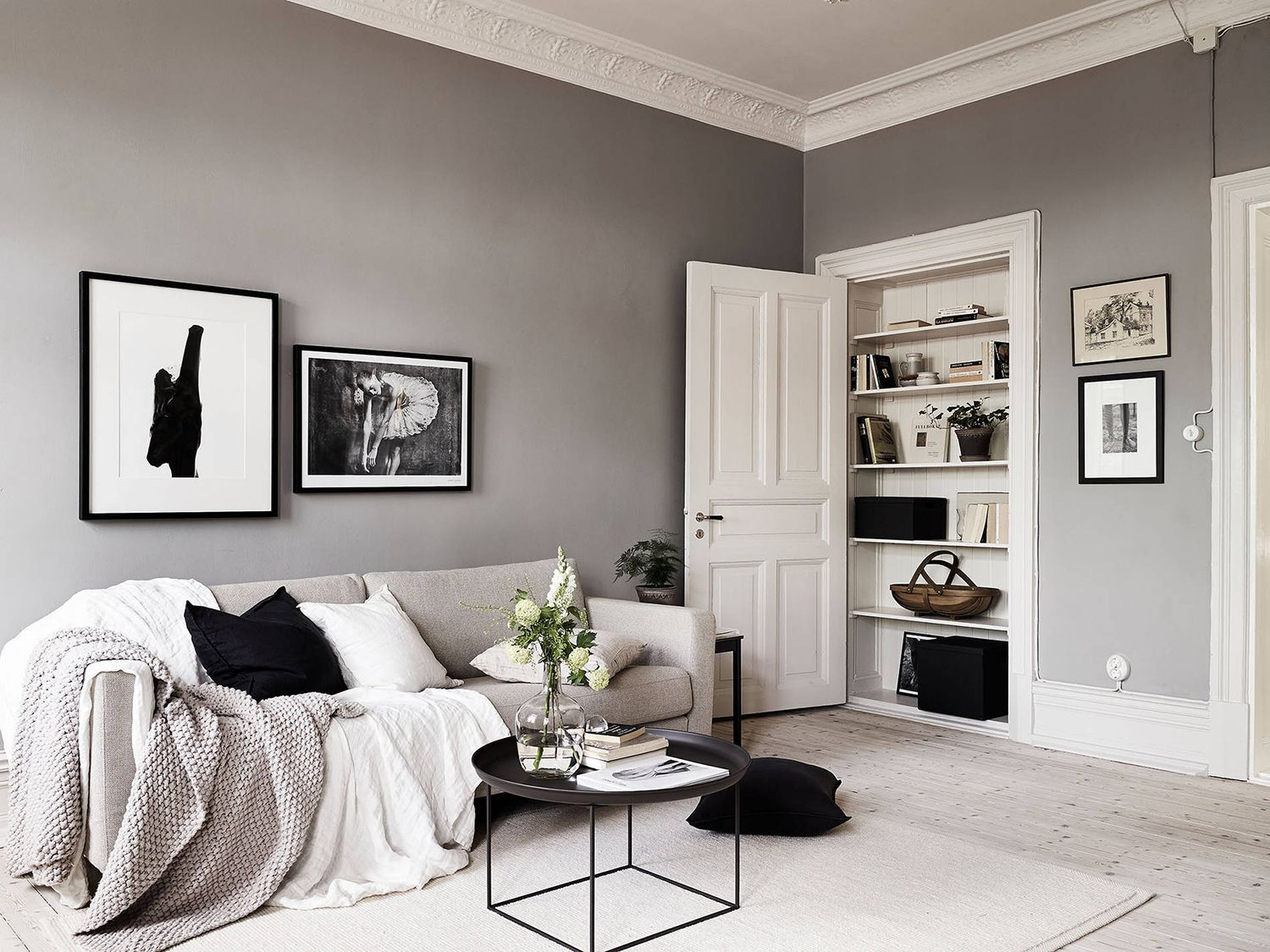 A Swedish Home with Neutral Colors, gray, white and black color ...