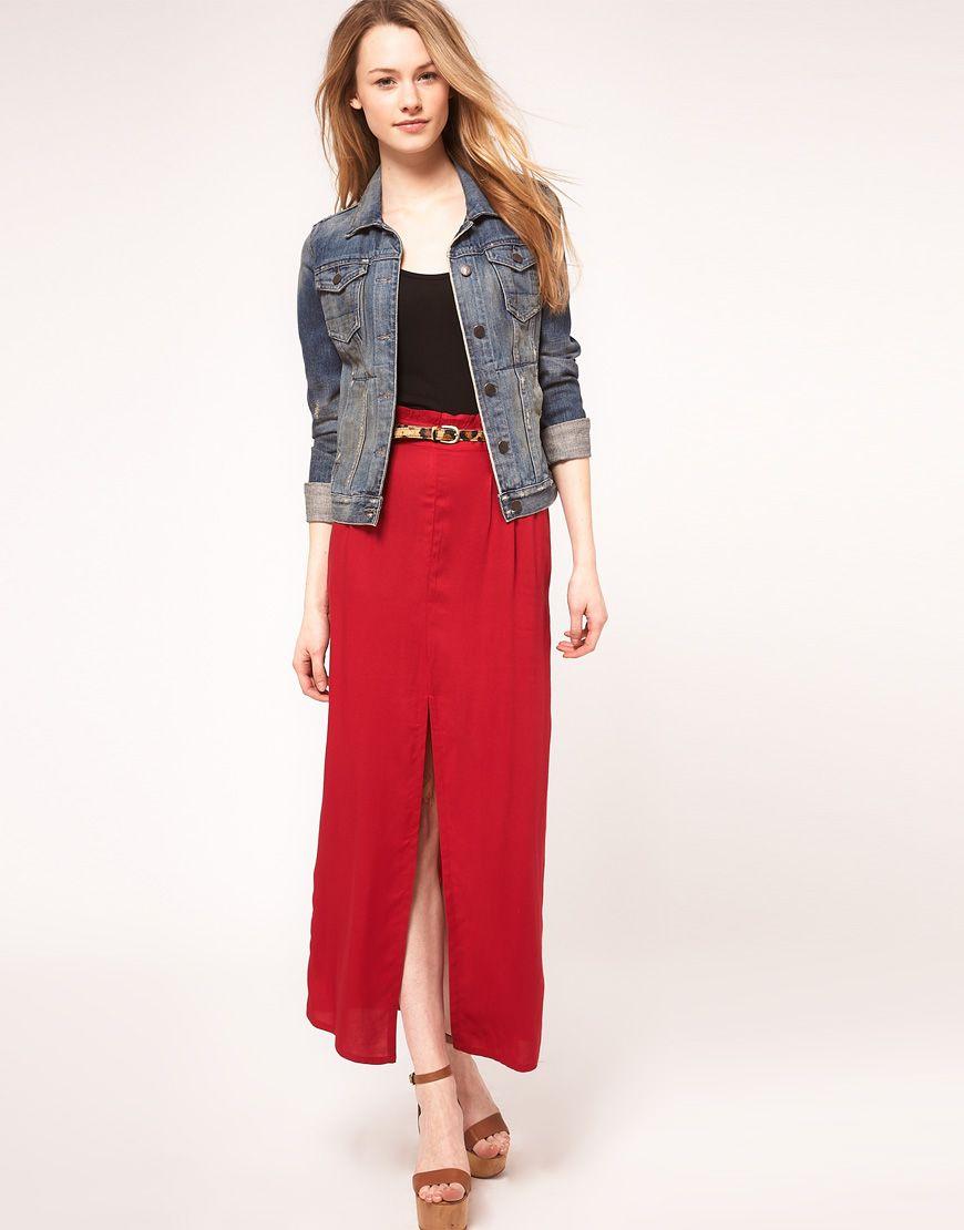 long skirt with denim
