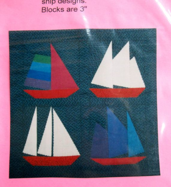 ship quilt patterns | Ship Boat Paper Pieced Quilt Pattern, 3 inch blocks, 4 Different Ships ...
