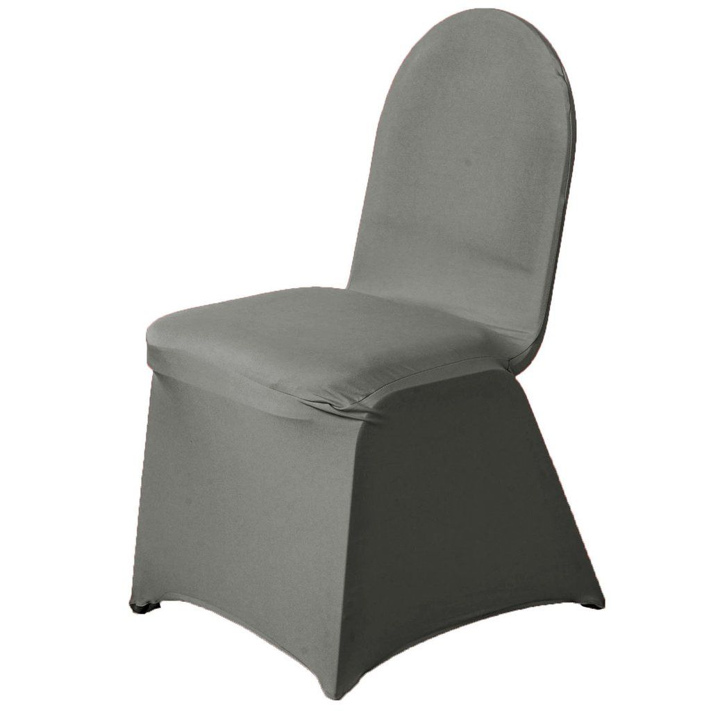160 Gsm Charcoal Gray Stretch Spandex Banquet Chair Cover With