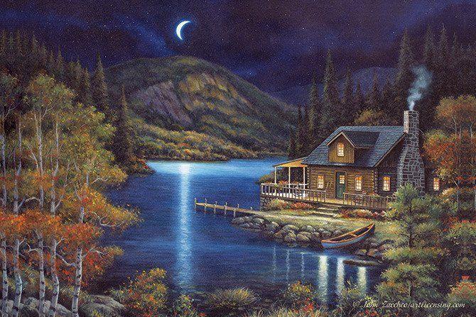 Led Canvas Art Moonlit Cabin Paisaje De Fantasia Pintura De Luz Cuadros De Paisajes