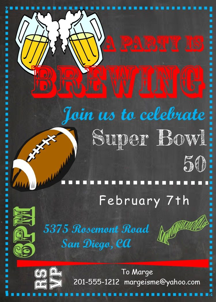 Football and Super Bowl party invitations chalkboard Super Bowl