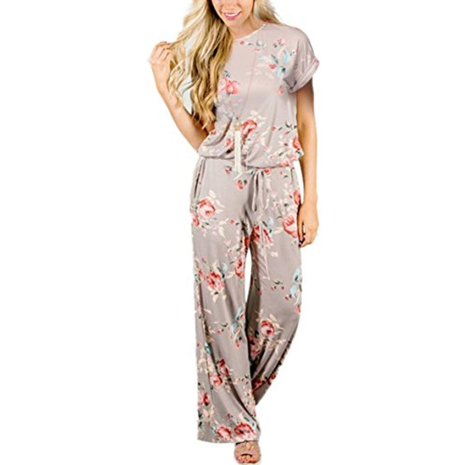 Richcoco Womens Summer Floral Printed Jumpsuit Casual Loose Short Sleeve Tie Back Jumpsuit Rompers