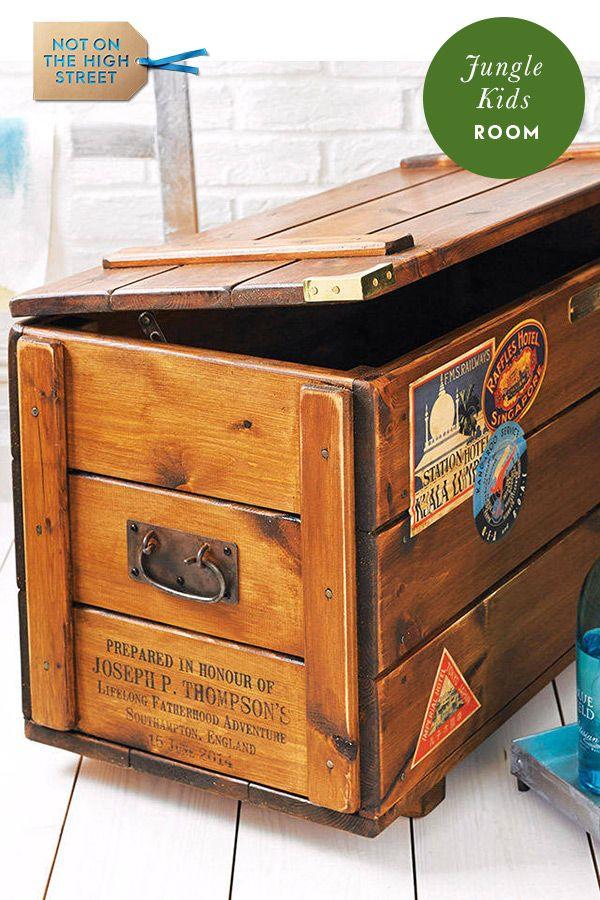 Strange Personalised Wood Storage Trunk Vintage Steamer Chest In Download Free Architecture Designs Itiscsunscenecom