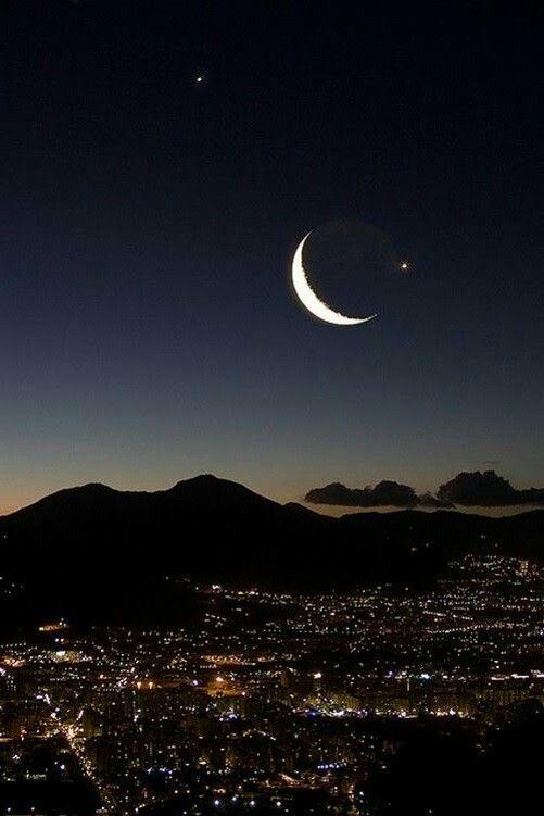Bulan Sabit Langit Malam Langit Gambar