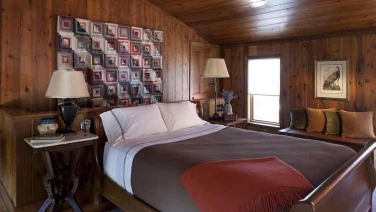 couleur pour chambre moderne, lambris mural en bois massif ...