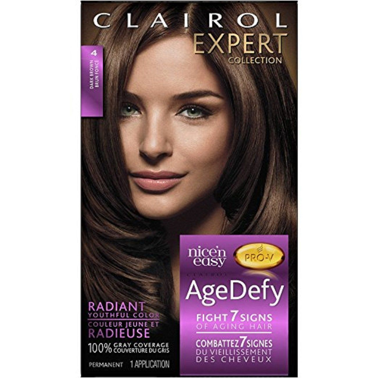 Clairol Age Defy Expert Collection Hair Color Dark Brown 4 2