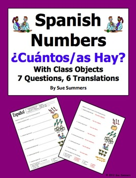 Spanish Cuantos Hay with Numbers and Classroom Objects Worksheet ...