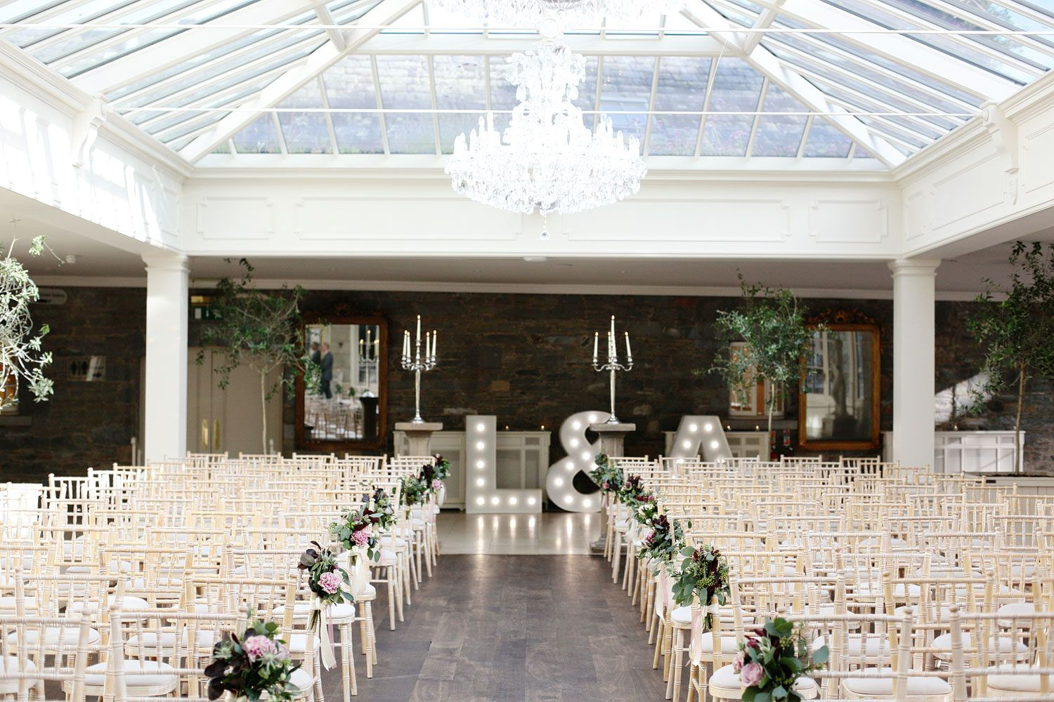 tankardstown house wedding venue the orangery photo set up for a civil ceremony on site