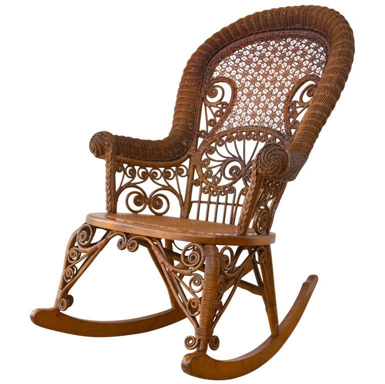 Antique Victorian Wicker Rocker. Vintage Rocking ChairModern ...