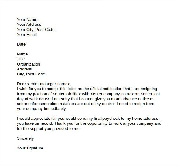 Samples Of Resignation Letters Captivating Sample Resignation Letter Notice Free Documents Pdf Word Contract .