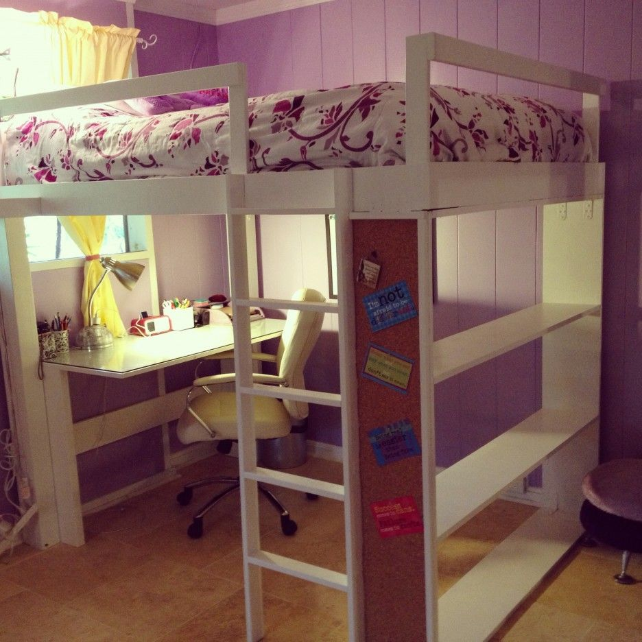 Loft bedroom for boys  Kids Room  White Lacquered Wood Adult Loft Bed With Desk With
