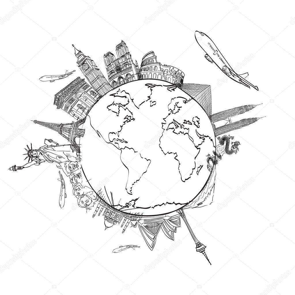 Downloaden Tekening Van De Droom Reis Rond De Wereld In Een Whiteboard Stockbeeld Rond De Wereld Mandala Kleurplaten Tekenen