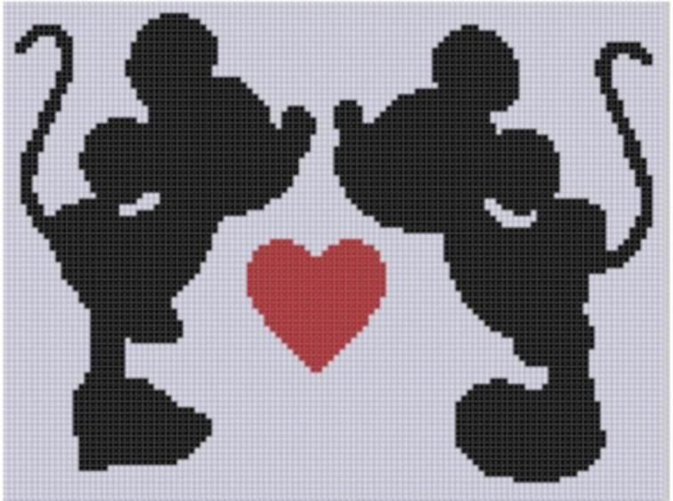 Mickey and minnie love cross stitch mickey souris petite souris silhouette - Coloriage minnie jouet ...