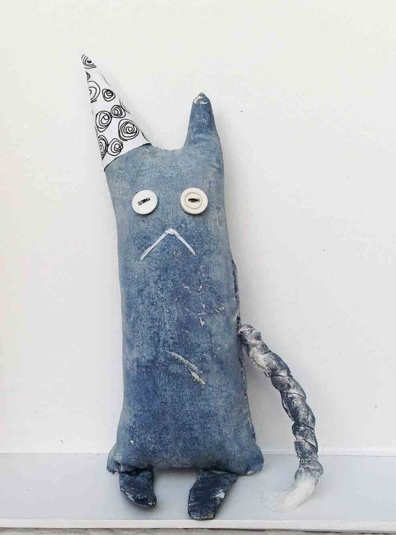 Party Cat Doll JEROME ready to ship by WeeArtThings on Etsy, £11.50