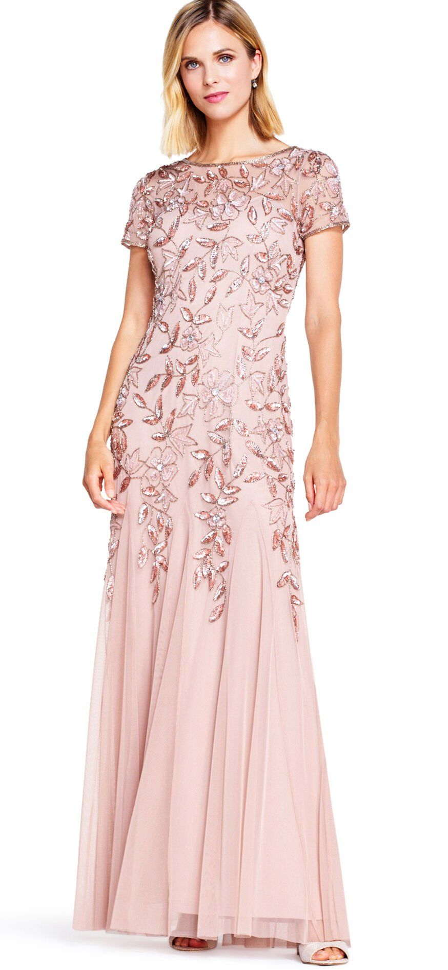 Floral Beaded Godet Gown with Sheer Short Sleeves in 2020