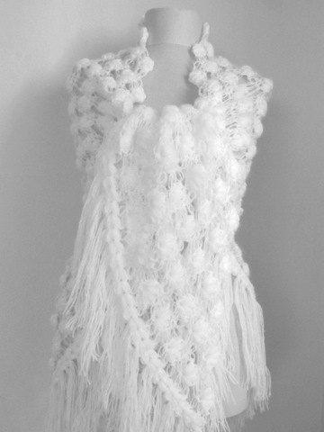 WHITE Crochet Shawl Wedding Bridal