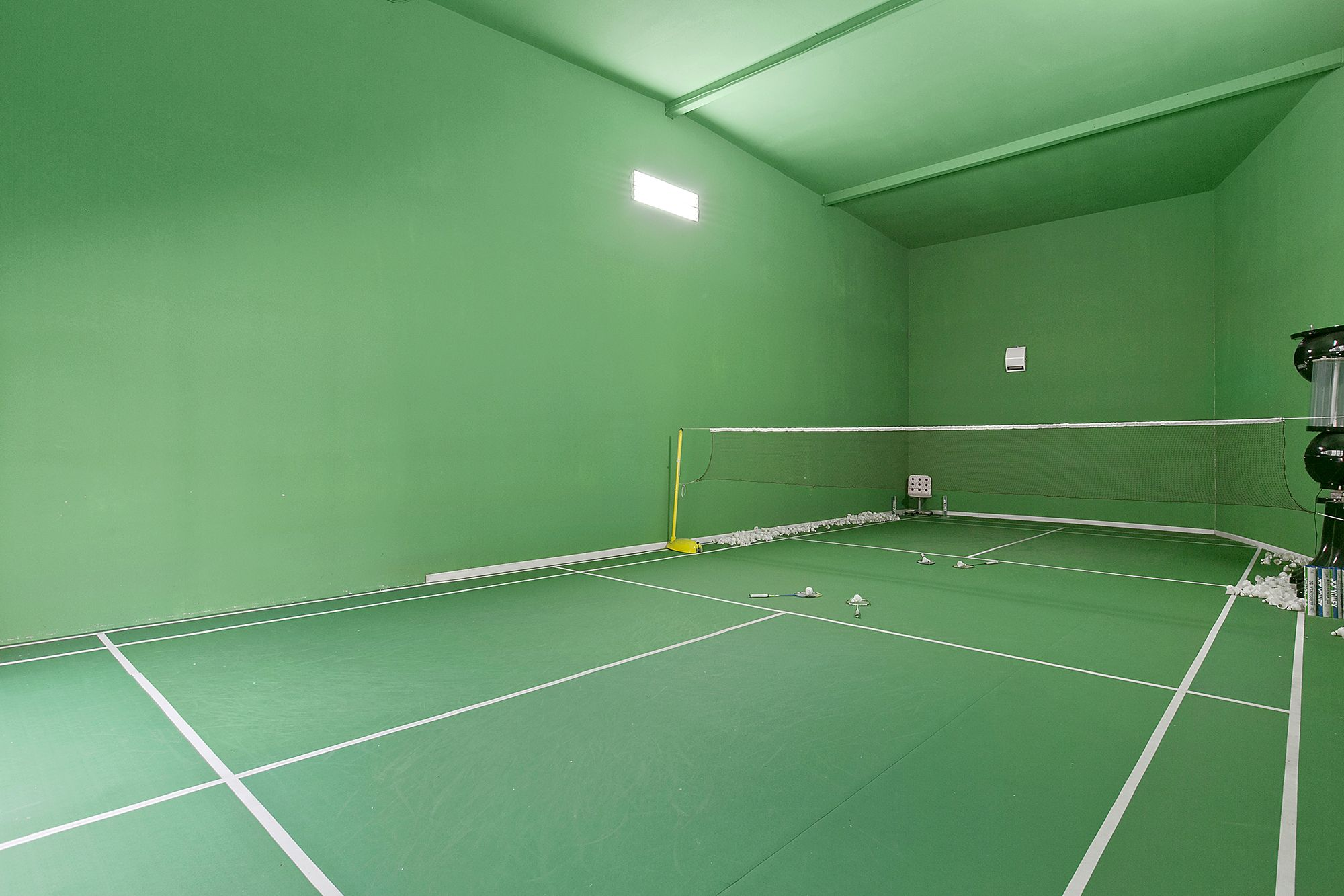 For The Sport Enthusiast This Fullerton Property Boasts A Privately Indoor Badminton Court Score Sport Court Badminton Court Sports