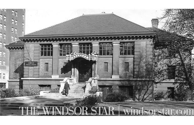 1953 The Carnegie Library Downtown Windsor On Victoria Ave South Of Park St Windsor Ontario Carnegie Library Ontario Canada