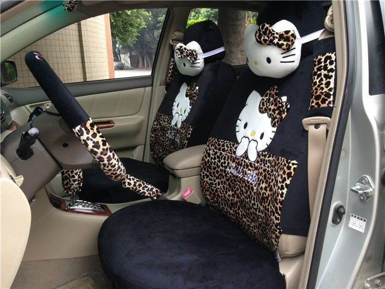 new 18 pcs hello kitty leopard print car seat covers steering wheel cover winter. Black Bedroom Furniture Sets. Home Design Ideas