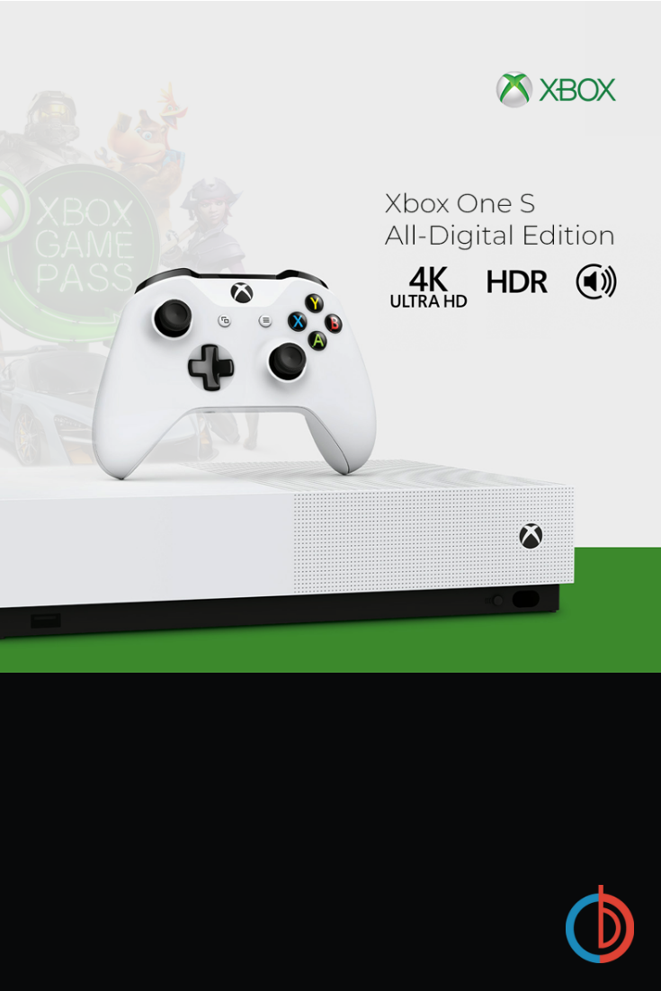 1 TB Xbox One S All Digital Edition DiscFree with 3 Game