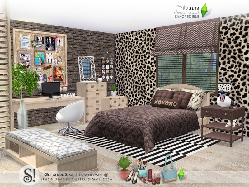 Bringing To Your Sims This Decor Pack Full Of Cute Goodies Thinking About Cool Teens Style We Created This Set To Beautify And Enh Sims 4 Bedroom Sims 4 Sims