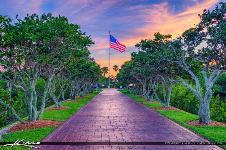 Veterans Memorial Island Park Vero Beach Sunset American Flag