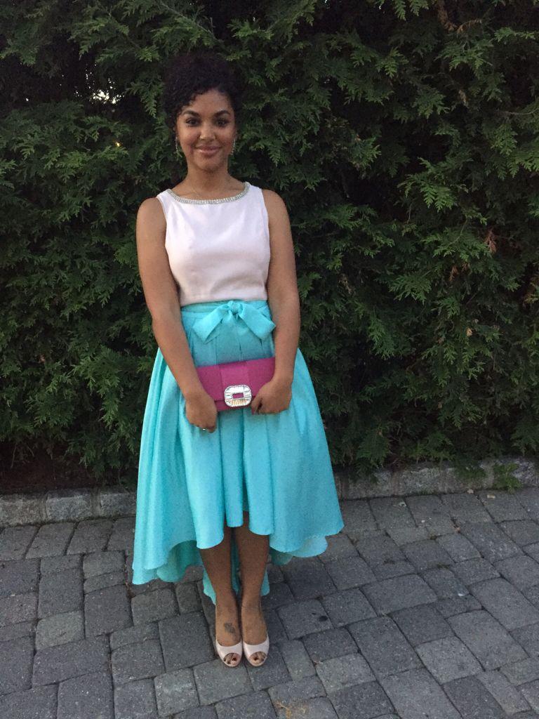 Hi lo ball skirt// aqua blue// blush pink crop top// fuchsia clutch ...