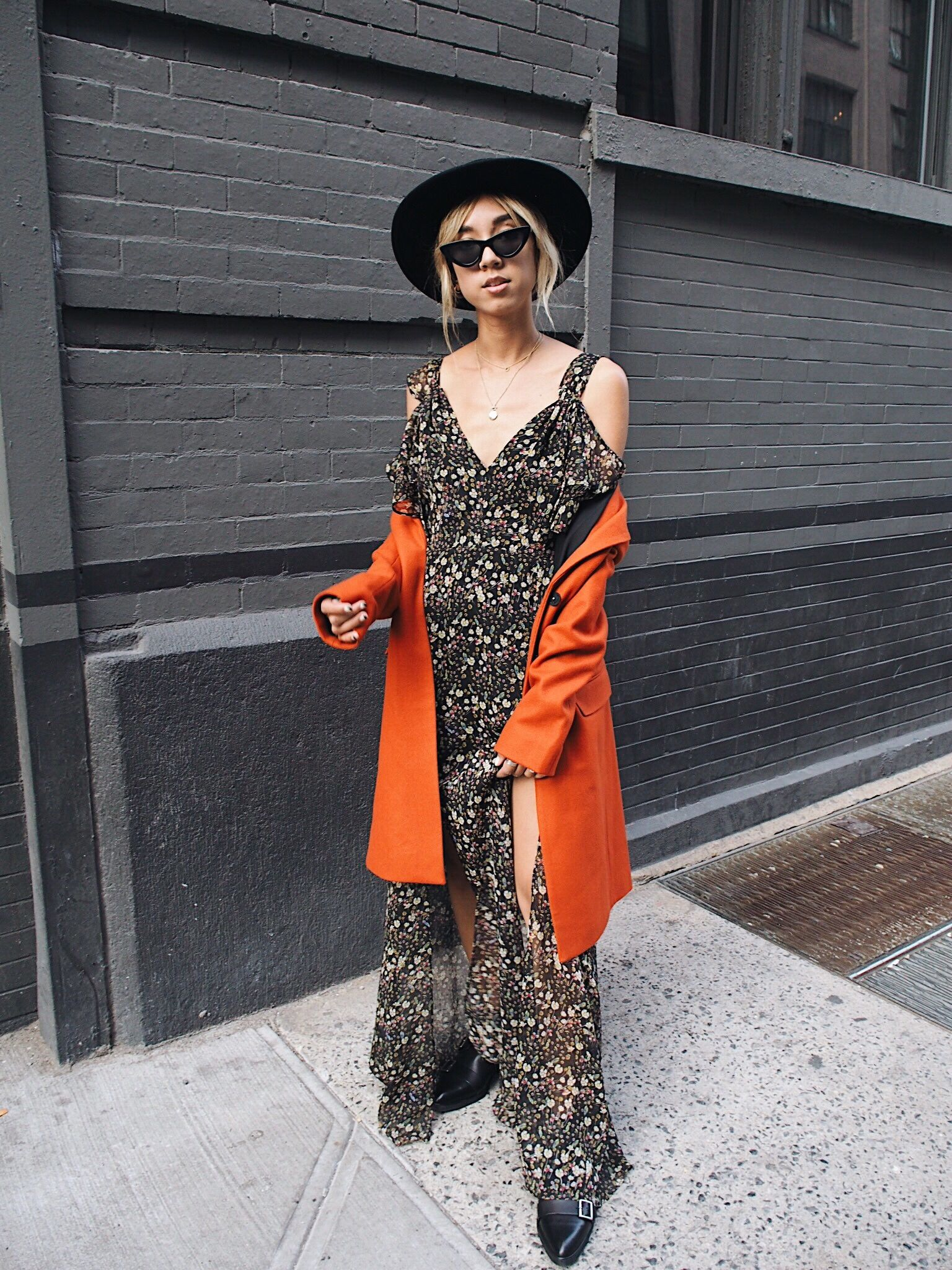 f19aacc7a7b Blogger Stephanie Arant from Unconscious Style wearing French Connection  Halle Crinkle Floral Cold Shoulder Dress