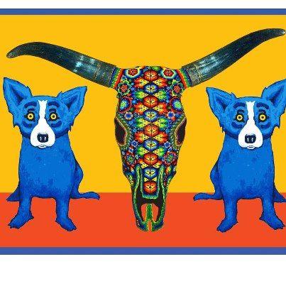 George Rodrigue Cow Dogs Love Rodrique S Blue Dog Blue Dog Art Dog Paintings Dog Artwork