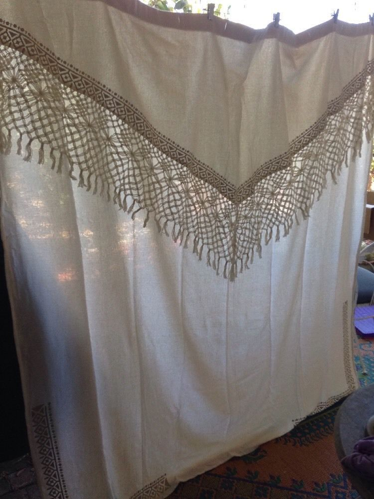 Anthropologie Shower Curtain Bathroom 100 Cotton Cream Macrame