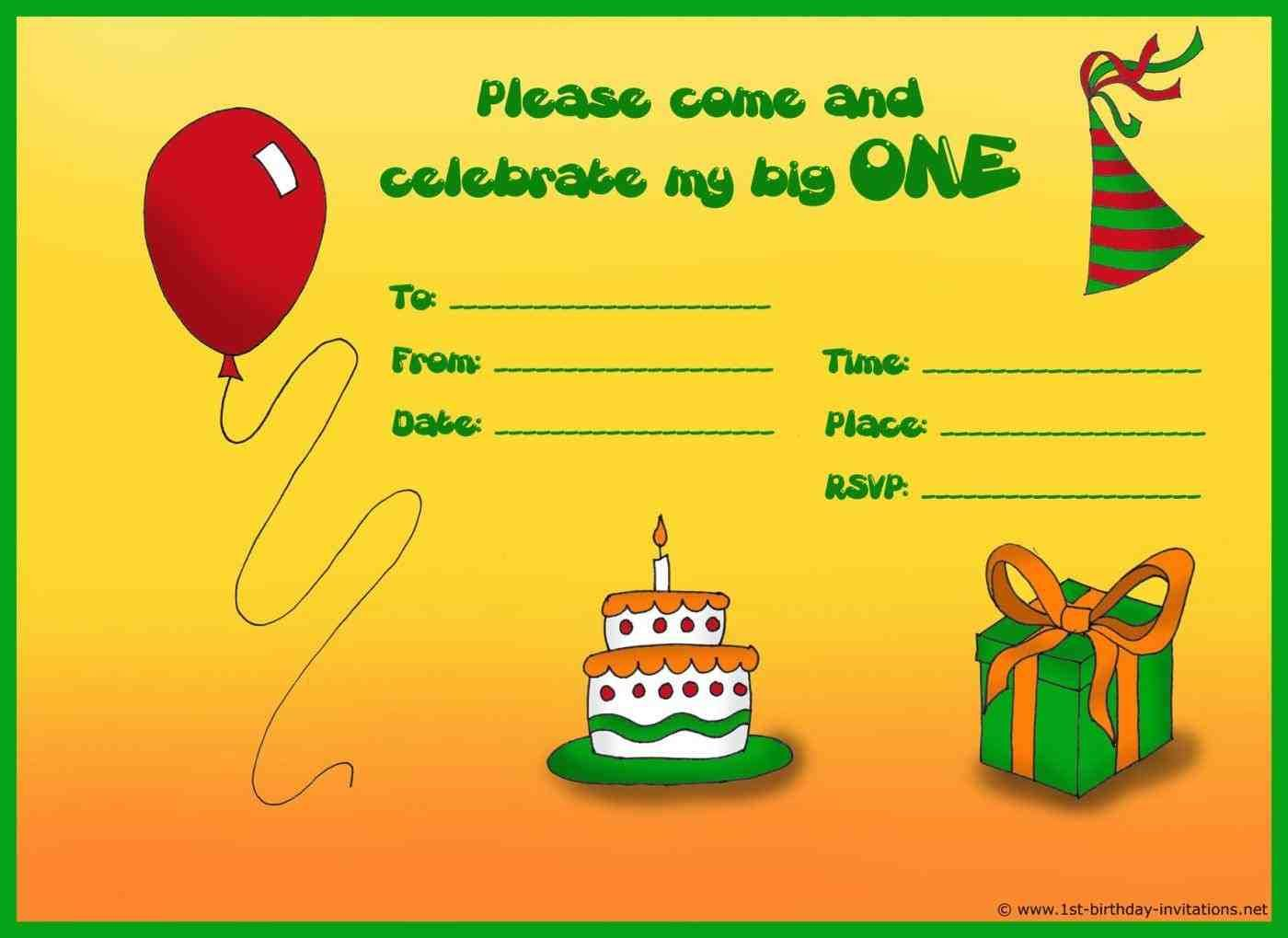 nice free birthday invitations templates kids download this ...