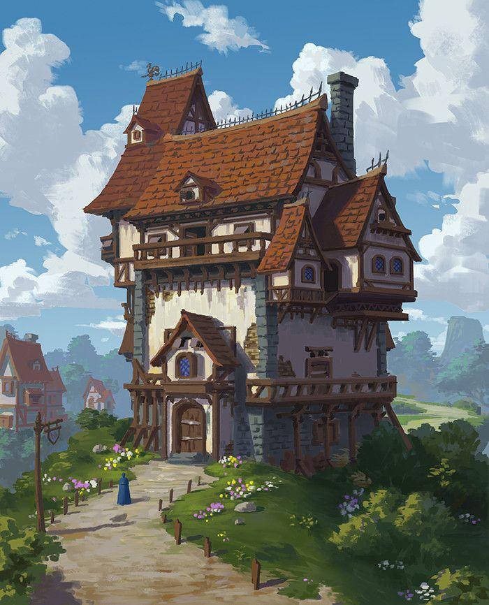 Artstation A House Xiaosheng Bai Fantasy Village Fantasy