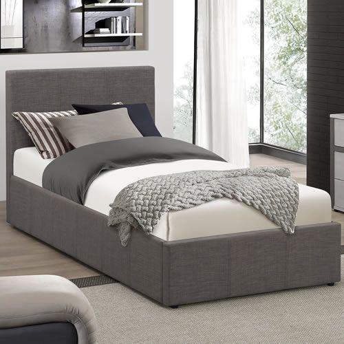 Berlin Ottoman Grey Fabric Bed Frame Ottoman Bed Grey Single