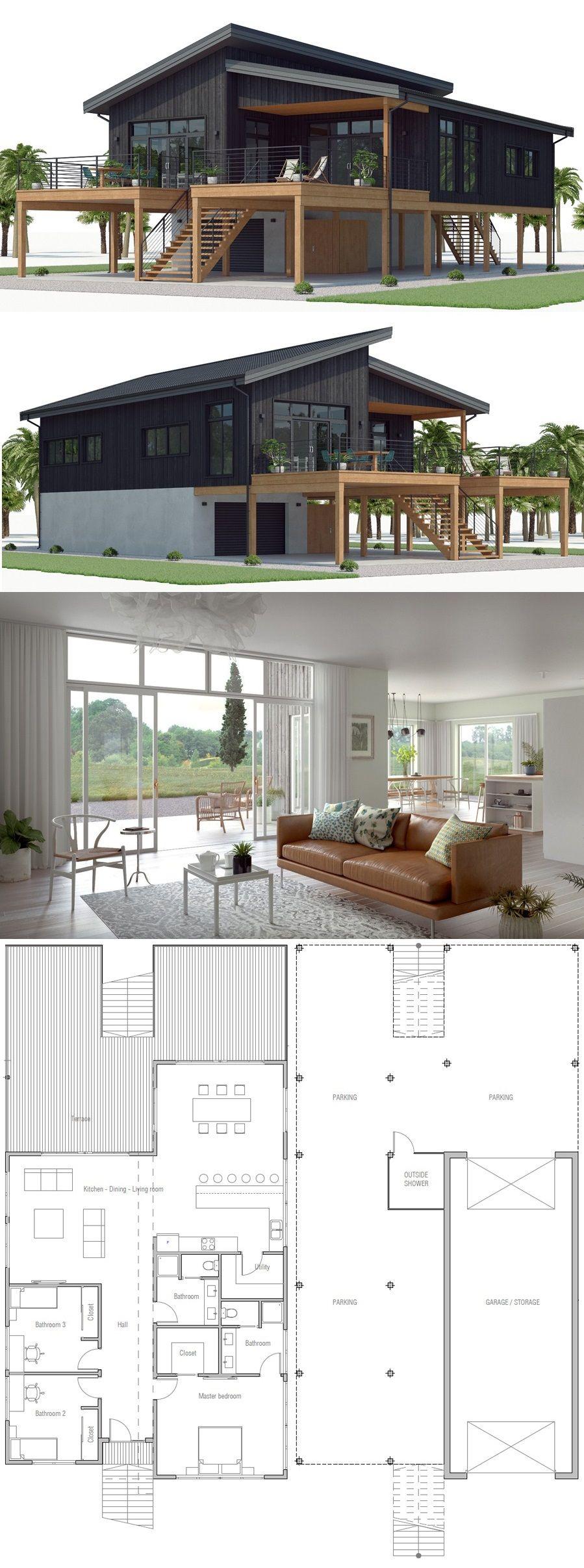 House Plan Ch539 Modern Beach House Beach House Plan Beach House Interior
